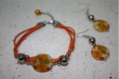 Conjunto tonos anaranjados con florecillas