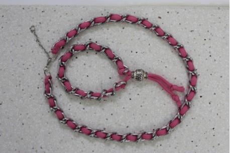 Conjunto cadena y cordón rosa fluor
